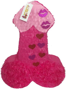 APINATA4U LLC - Large Penis Adult Pinata | Hot Pink with Glitter Kisses | Ideal for Bachelorette Party | Made with High Quality Cardboard | Party & Game | Size - 2ft Approx | Easy to Use & Fill