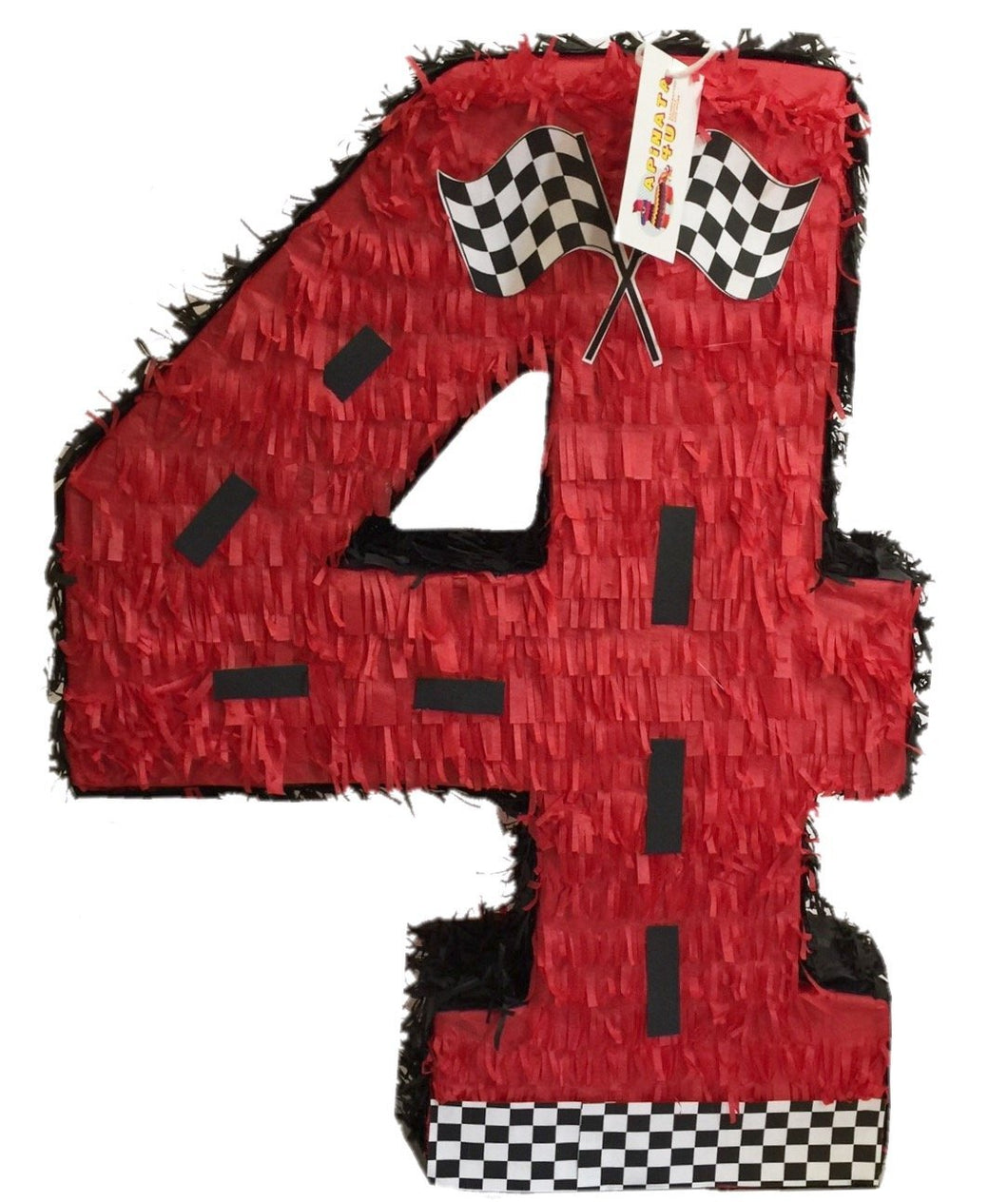 APINATA4U Large Red Number Four Racing Theme Pinata