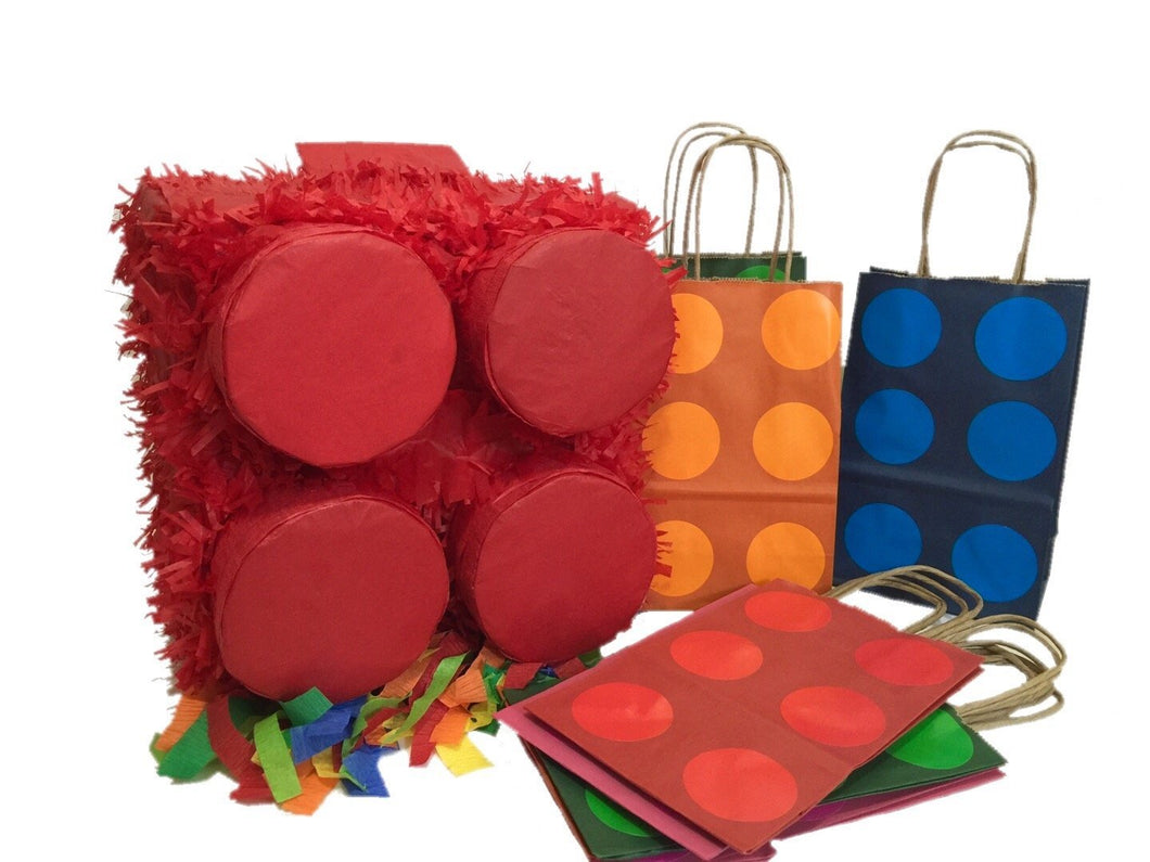 Red Brick Pinata & 12PK Party Favor Bags Assorted Colors