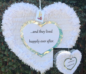 Happily Ever After Heart Pinata White & Silver Color