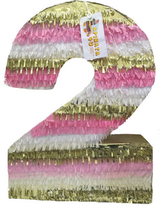 "Large Pink Gold & White Number Two Pinata 24"" Tall"