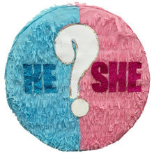Load image into Gallery viewer, He or She? Gender Reveal Pull Strings Pinata 16""
