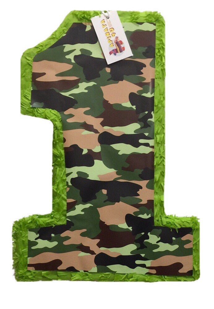 "Woodland Camouflage Number One Pinata  20"" Tall Camo Theme Party"