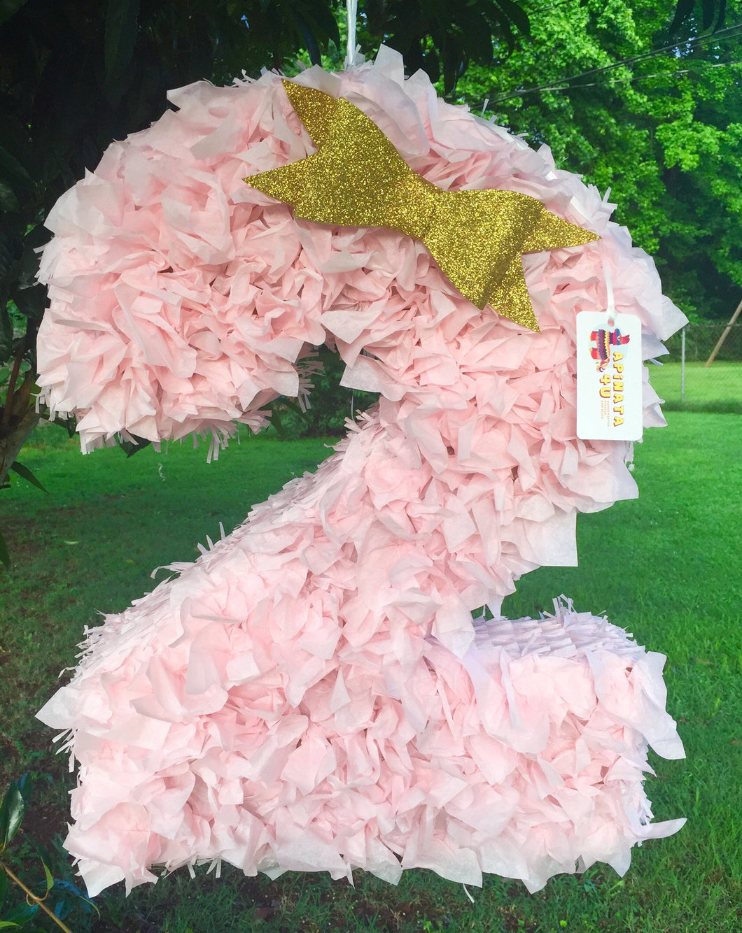 Number Two Pinata Light Pink Color Fluffy Look Second Birthday