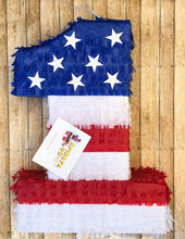 "Load image into Gallery viewer, Large Patriotic Number One Pinata 24"" Tall Happy 4th of July"