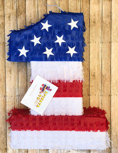 "Large Patriotic Number One Pinata 24"" Tall Happy 4th of July"