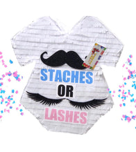Load image into Gallery viewer, Sale! Baby Onesie Pinata Staches or Lashes Gender Reveal Party