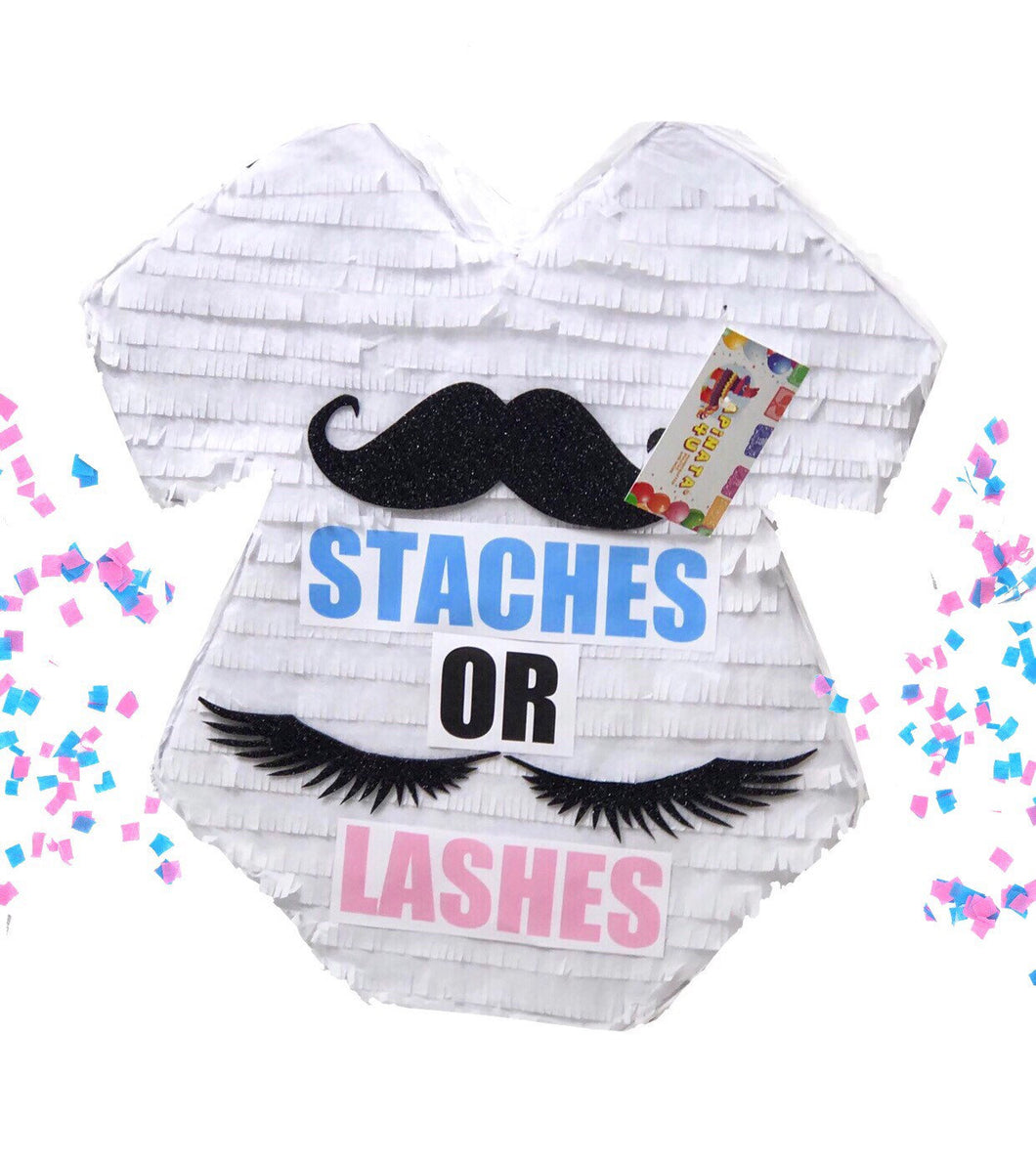 Sale! Baby Onesie Pinata Staches or Lashes Gender Reveal Party
