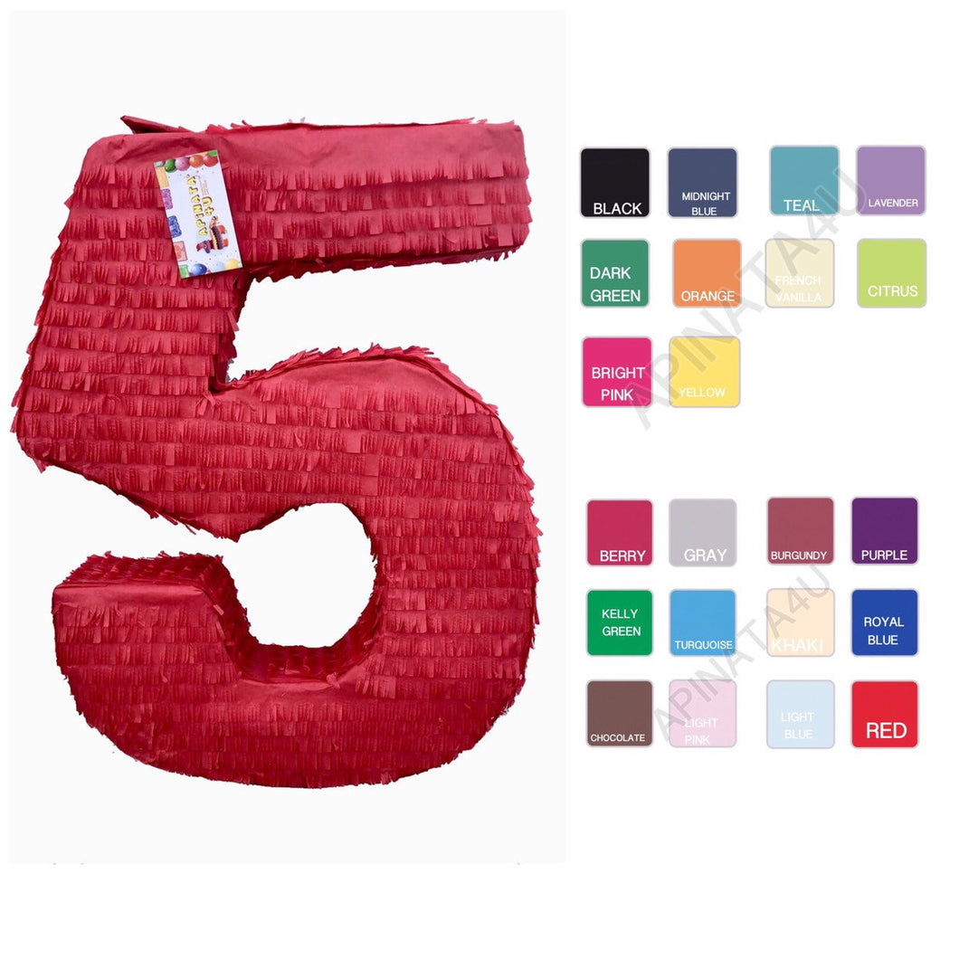Sale! Large Solid Color Blank Number Five Pinata Great to create your own Theme!