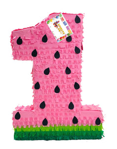 Large Number One Pinata Watermelon Theme Pink Color or Red Color