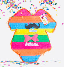 Load image into Gallery viewer, Fiesta Themed Gender Reveal Onesie Pinata Gender Reveal Pinata Niño Niña Muchacho Muchacha Señor Señorita