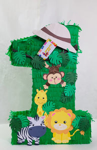Number One Cute Safari Themed Pinata