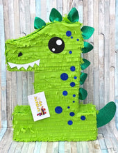 Load image into Gallery viewer, Large Number One Pinata First Birthday Pinata Bright Green Dinosaur Theme