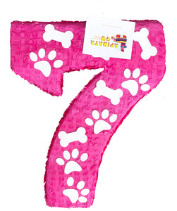 Ready to Ship Large Number Seven Piñata Puppy Theme Birthday Photo Prop Seventh Birthday Party Decoration Paw Print