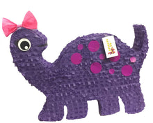 Load image into Gallery viewer, Large Dinosaur Piñata Dino Themed Birthday Party Dinosaur Party Supplies Dino Photo Prop Purple Dino