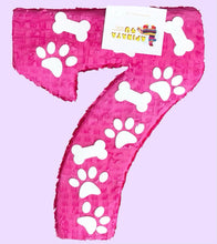 Load image into Gallery viewer, Ready to Ship Large Number Seven Piñata Puppy Theme Birthday Photo Prop Seventh Birthday Party Decoration Paw Print