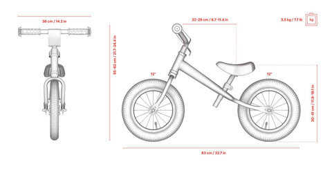 Specs for Yedoo OneToo child's balance bike - similar to Strider run bike for kids