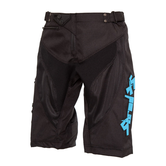 ShredXS Youth Downhill Mountain Bike Short in Black, front view