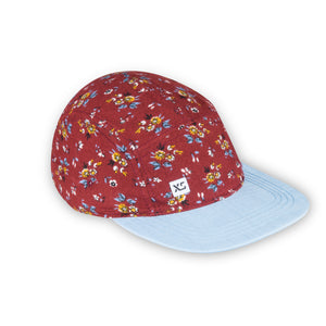 maroon floral 5 panel adult hat