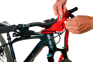 TowWhee Bike bungee tow strap red how to attach to headset