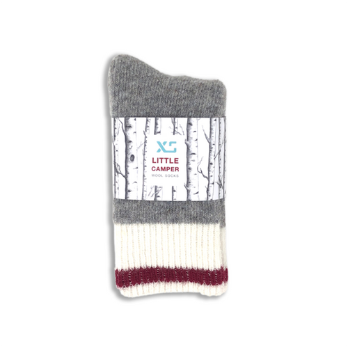 Crimson wool little camper kids socks