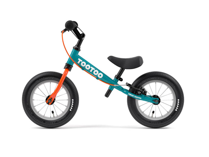 Teal Blue Orange Yedoo TooToo child's balance bike - similar to Strider run bike for kids
