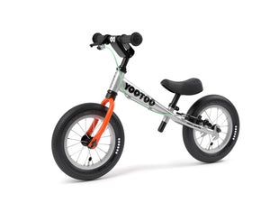Aluminum Yedoo YooToo child's balance bike orange fork 3/4 view - similar to Strider run bike for kids