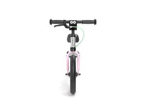 Aluminum Yedoo YooToo child's balance bike pink fork front view - similar to Strider run bike for kids