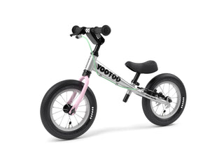 Aluminum Yedoo YooToo child's balance bike pink fork 3/4 view - similar to Strider run bike for kids