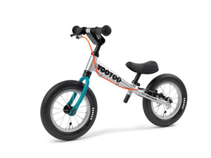 Aluminum Yedoo YooToo child's balance bike blue fork 3/4 view - similar to Strider run bike for kids