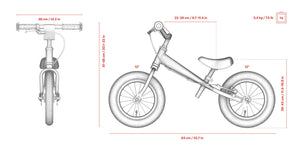 Specs for Aluminum Yedoo YooToo child's balance bike - similar to Strider run bike for kids