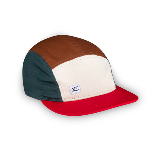 Kids 5 panel hat earth colour block