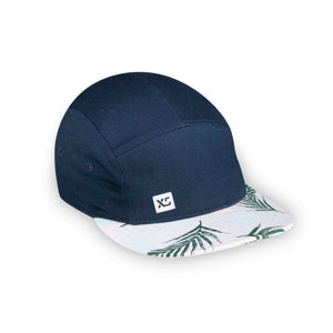 Kids 5 panel hat navy tropical