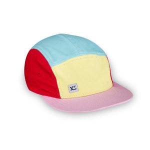 Kids 5 panel hat pastel colour block