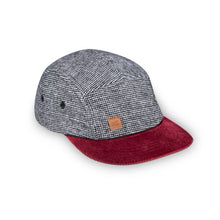 Herringbone maroon 5 panel wool kids hat by XS Unified