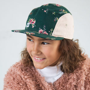 Kids 5 panel hat floral on girl