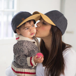 Kid and mom with Wool 5 panel wool kids hat by XS Unified