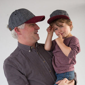 Kid and dad with herringbone 5 panel wool kids hat by XS Unified