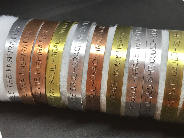 Hand Stamped Mantra Bracelet - Pure Aluminum