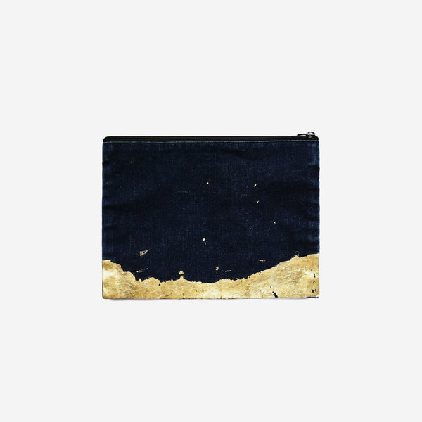 513 Artisan Range | Abstract Art Clutch - Denim with Gold Foil