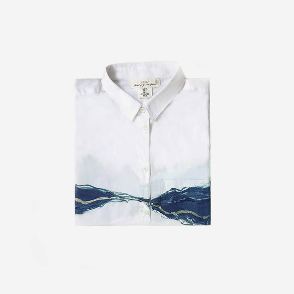 513 Artizen Range | Abstract Art Shirt - Blue Silver