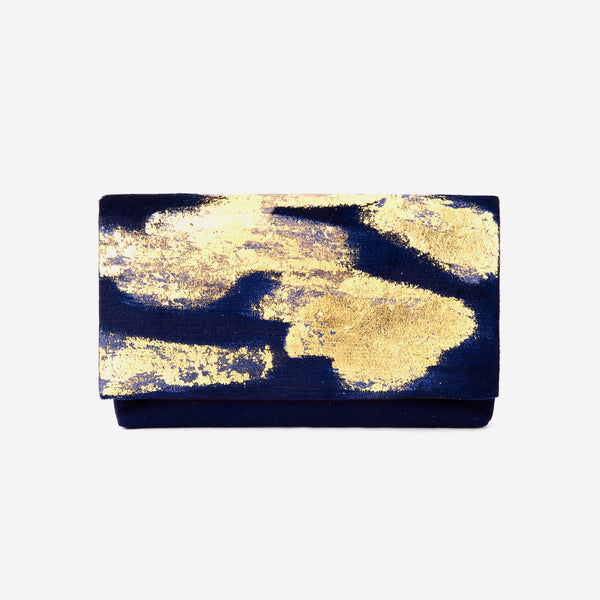 513 Paint Shop x Heritage Refashioned | Abstract Art Clutch - Blue Gold