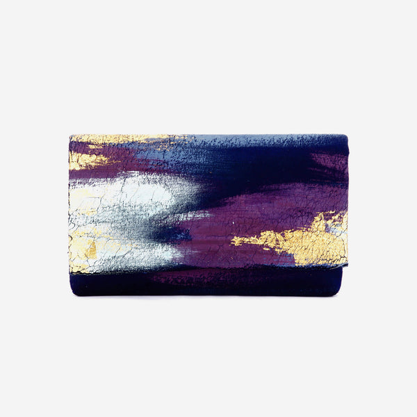 513 Paint Shop x Heritage Refashioned | Abstract Art Clutch - Blue Purple Gold