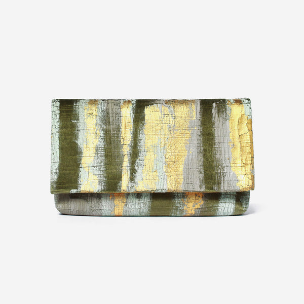 513 Paint Shop x Heritage Refashioned - Abstract Art Clutch - Green Gold