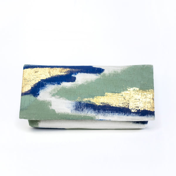513 Paint Shop x Heritage Refashioned | Abstract Art Clutch - Blue Green Gold