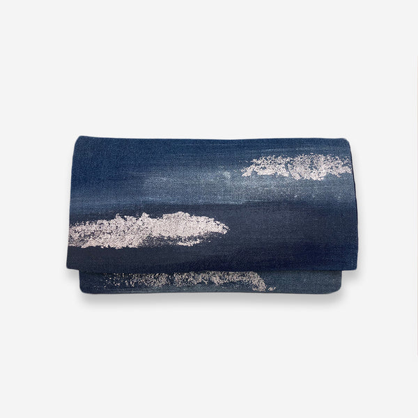 513 Artizen Range | Abstract Art Clutch - Denim Blue Silver