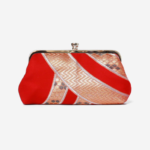 Heritage ReFashioned | Vintage Japanese Obi Clutch Purse - Red and Gold Seigaihai Kimono