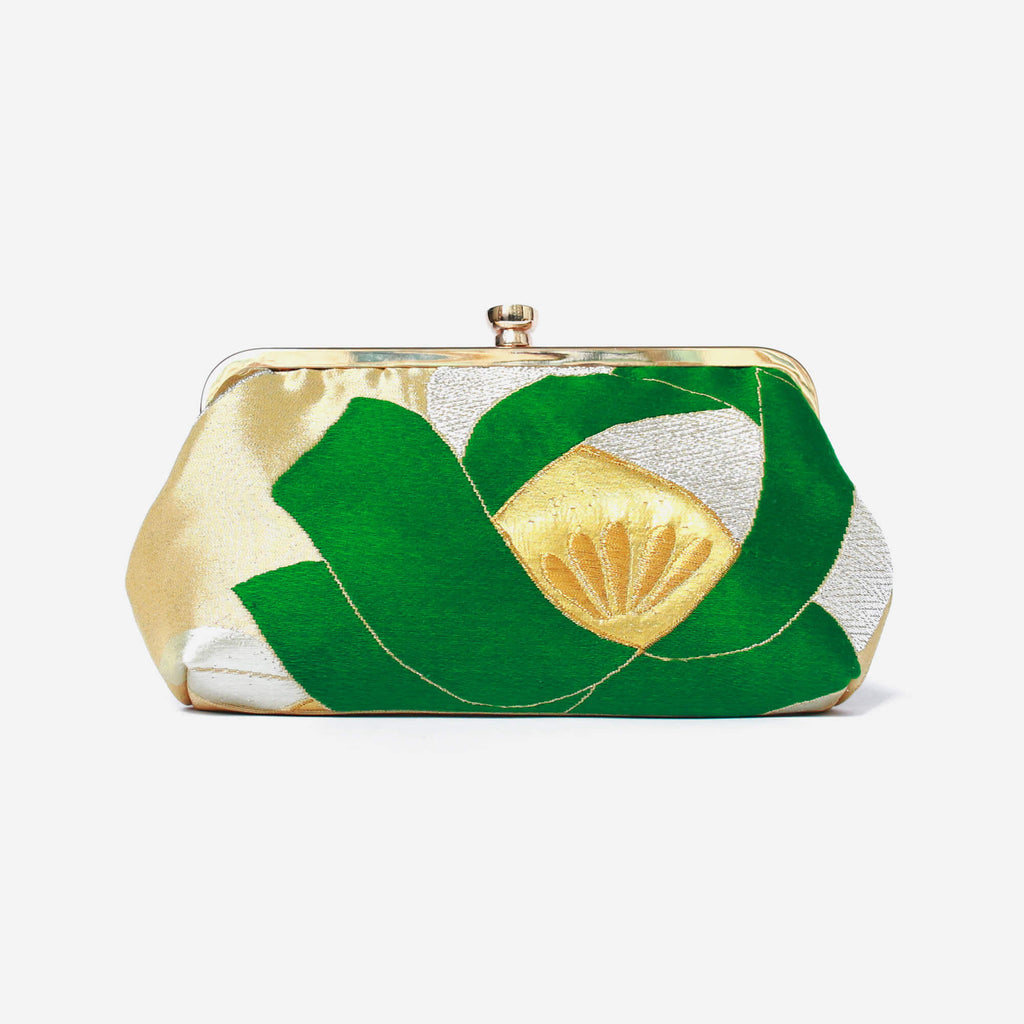Heritage ReFashioned | Vintage Japanese Obi Clutch Purse - Camellia Clutch in Green & Gold
