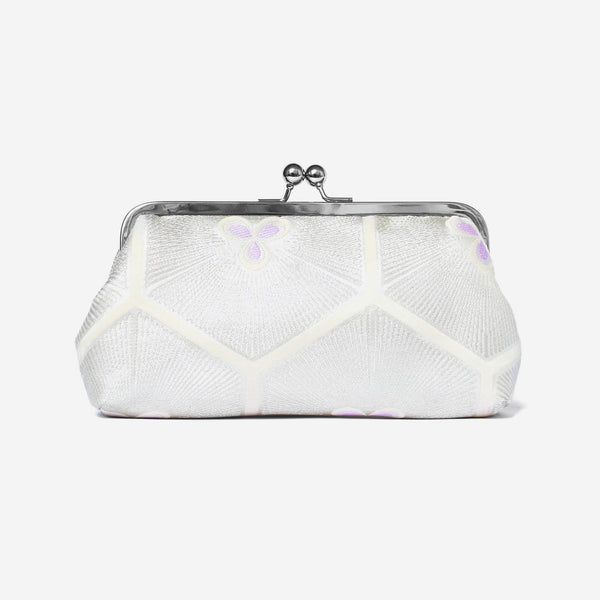 Heritage ReFashioned | Vintage Japanese Obi Clutch Purse - Stylized pine in silver and ivory