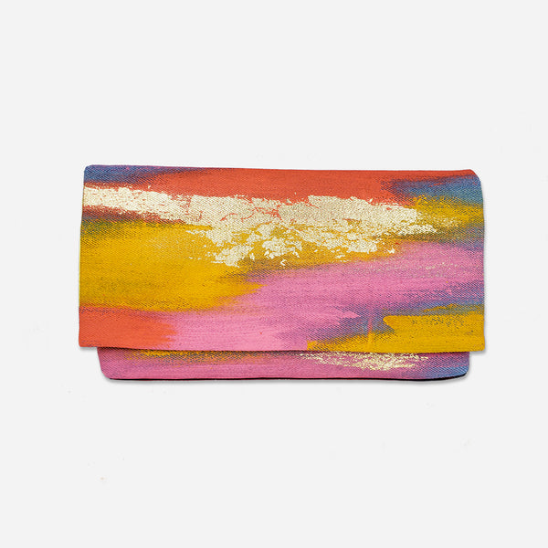 513 Artizen Range | Abstract Art Clutch - Denim Sunset Gold
